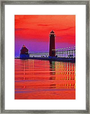 Grand Haven Lighthouse Framed Print by Dennis Cox