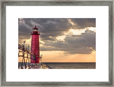 Grand Haven Lighthouse Hdr Framed Print by Jeramie Curtice