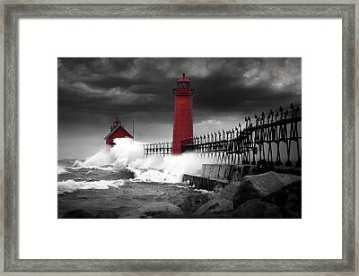 Grand Haven Lighthouse In A Rain Storm Framed Print