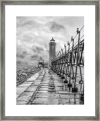 Grand Haven Lighthouse - Monochome Framed Print