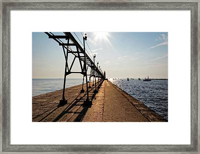Framed Print featuring the photograph Grand Haven Pier by Lars Lentz