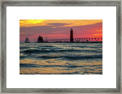 Grand Haven Pier Sail Framed Print