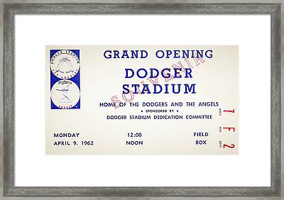 Grand Opening Dodger Stadium Ticket Stub 1962 Framed Print by Bill Cannon