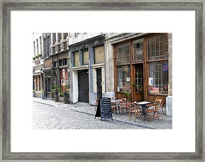 Grand Place Shops Framed Print by Mark Chevalier