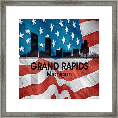 Grand Rapids Mi American Flag Squared Framed Print