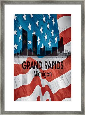 Grand Rapids Mi American Flag Vertical Framed Print