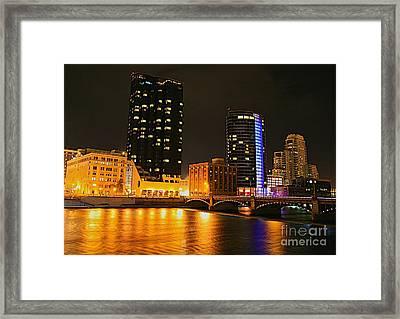 Grand Rapids Mi Under The Lights-2 Framed Print by Robert Pearson