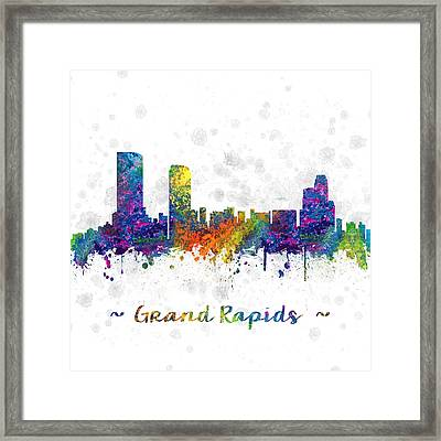 Grand Rapids Michigan Color 03sq Framed Print by Aged Pixel