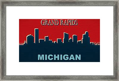 Grand Rapids Michigan Skyline Rustic Framed Print