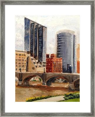 Grand Rapids Skyline Framed Print by Mary Marin