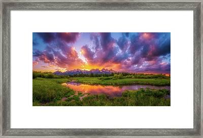 Grand Sunset In The Tetons Framed Print by Darren White