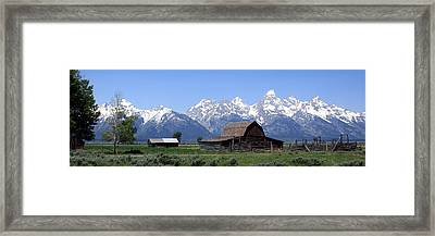 Grand Teton Barn Panarama Framed Print