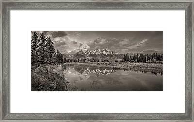 Grand Teton Monochromatic Panoramic Framed Print