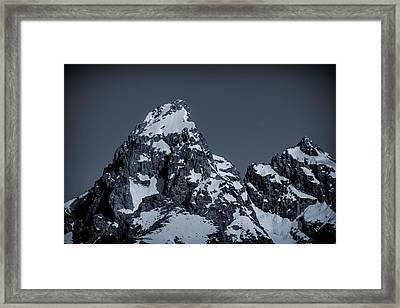 Grand Teton Mountain Blue Tone Framed Print