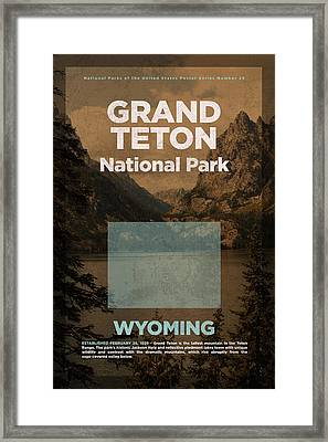 Grand Teton National Park In Wyoming Travel Poster Series Of National Parks Number 24 Framed Print by Design Turnpike