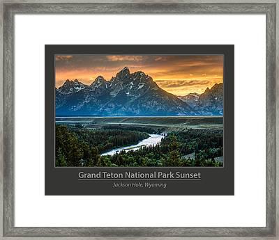 Grand Teton National Park Sunset Poster Framed Print by Gary Whitton