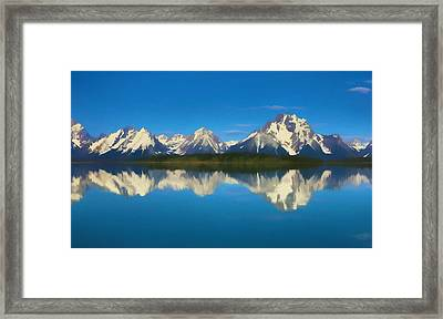 Grand Teton Reflection Wood Texture Framed Print