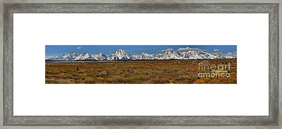 Grand Teton Willow Flats Panorama Framed Print by Adam Jewell