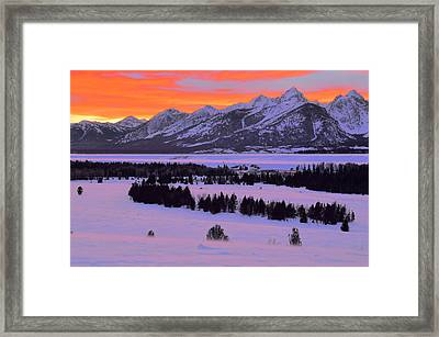 Grand Teton Winter Sunset Framed Print by Stephen  Vecchiotti