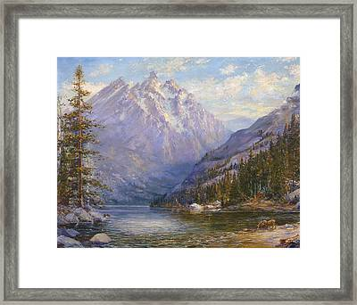 Grand Tetons And Jenny Lake Tryptych Center Framed Print