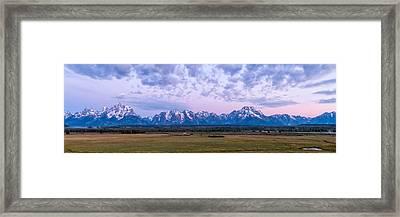 Grand Tetons Before Sunrise Panorama - Grand Teton National Park Wyoming Framed Print