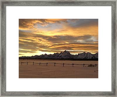 Grand Tetons In January Glory Framed Print