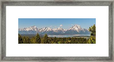 Grand Tetons Over Jackson Lake Panorama Framed Print
