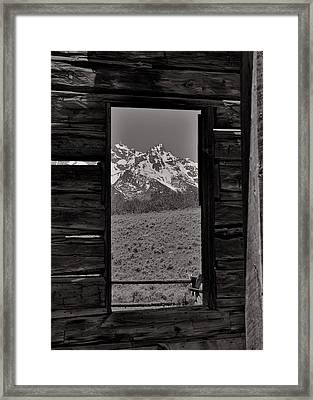 Grand Tetons Through The Window Framed Print