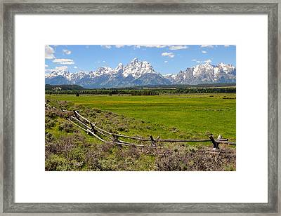 Grand Tetons With Buck And Pole Fence Framed Print