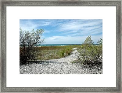 Framed Print featuring the photograph Grand Traverse Bay Path by LeeAnn McLaneGoetz McLaneGoetzStudioLLCcom