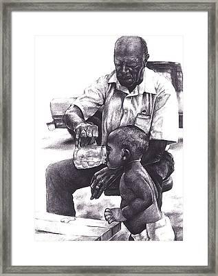 Granddaddy's Hands Framed Print by Curtis James