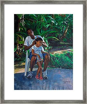 Grandfather And Child Framed Print by Colin Bootman