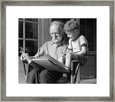 Grandfather Reading To Boy, C.1940s Framed Print