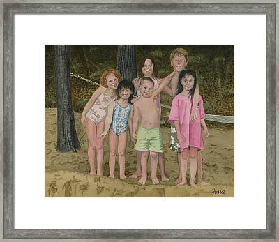 Framed Print featuring the painting Grandkids On The Beach by Ferrel Cordle