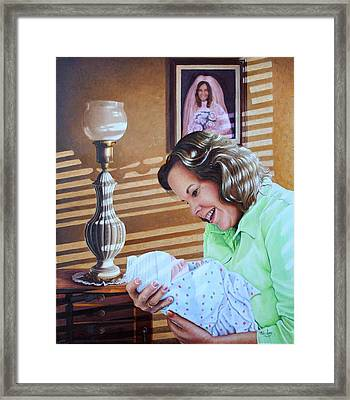 Framed Print featuring the painting Grandma And Granddaughter by Mike Ivey