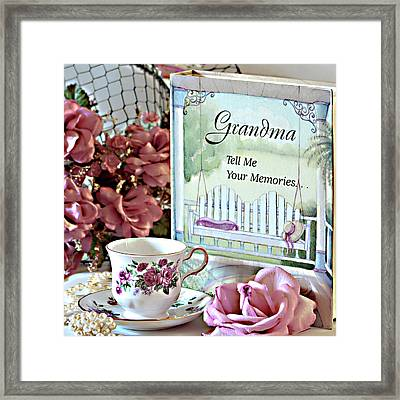 Grandma Tell Me Your Memories... Framed Print by Sherry Hallemeier