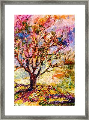 Grandmas Apple Tree Oil Painting Framed Print by Ginette Callaway