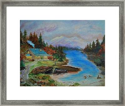 Framed Print featuring the painting Grandmas Cabin by Leslie Allen