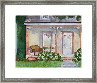 Grandma's Front Porch Framed Print by Ally Benbrook
