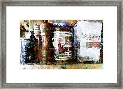 Framed Print featuring the photograph Grandma's Kitchen Tins by Claire Bull