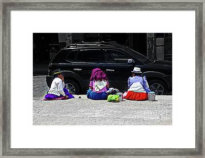 Grandmas Of Gualaceo Framed Print by Al Bourassa
