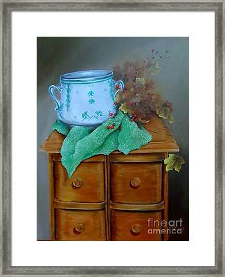 Grandma's Sewing Chest Framed Print by Patricia Lang