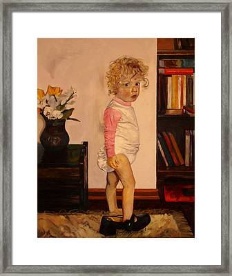 Framed Print featuring the painting Grandma's Shoe by Tim  Heimdal