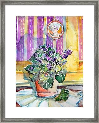 Grandmas' Violets Framed Print by Mindy Newman
