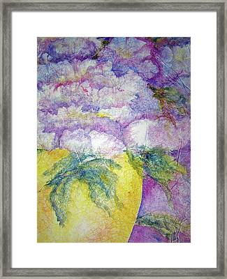 Grandma's Yellow Vase Framed Print by Sandy Collier