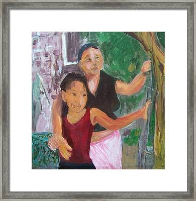 Grandmother And Grand-daughter In  Honduras Framed Print by Ellen Seymour
