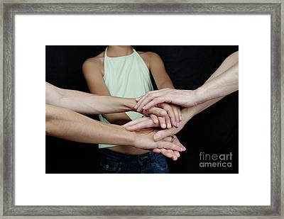 Grandmother Daughter And Granddaughter Touching Hands Framed Print by Sami Sarkis