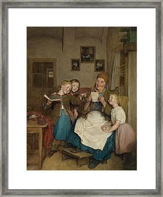 Grandmother With Three Grandchildren Framed Print