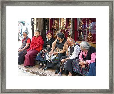 Grandmothers' Talk After Morning Prayer Framed Print by Dagmar Batyahav
