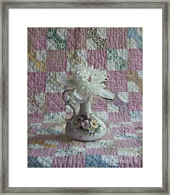 Grandmother's Vase And Her Son's Quilt Framed Print
